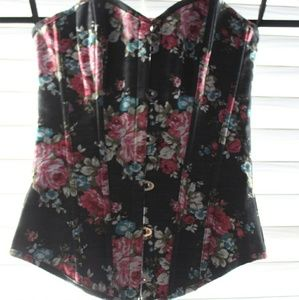 Vintage floral button & lace up boned corset
